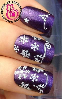Christmas Nail Art Stickers Decals Transfers Set White Tree Snowflakes Snow #855