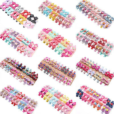10/20pcs Toddler Baby Kids Girls Ribbon Bow Bowknot Hair Clips Bands Alligator