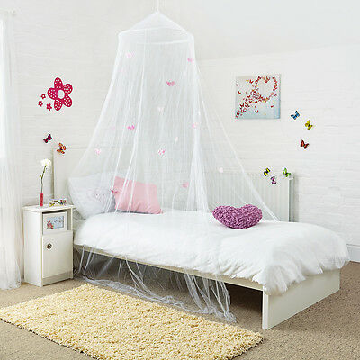 New! Princess Bed Canopy Beautiful White Butterflies Girls Bedroom Easy To Hang!