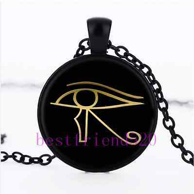 Eye of Horus Egyptian Cabochon Glass Black Chain Pendant  Necklace