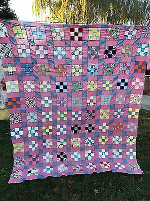 VINTAGE NINE PATCH QUILT TOP FEED SACK FABRIC SET in PINK
