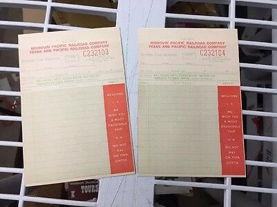 Pair Of Unused Texas. And Pacific Missouri Pacific Dining Car Checks