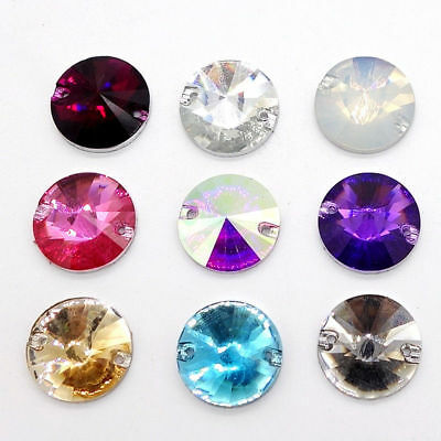 50pcs Sew On Resin Rhinestones Round Rivoli Buttons beads DIY 14mm