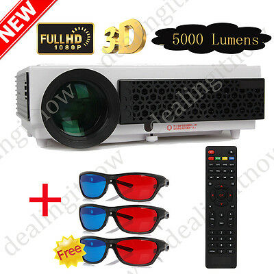 FULL HD 1080p 5000 Lumens 3D LED Home Cinema Theater Projector HDMI + 3D Glasses