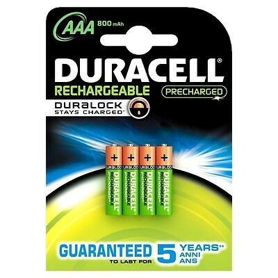 Duracell Hr03-a Rechargeable Batterie Staycharged 800 MAH Piles AAA - Pack de 4