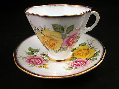VTG. IMPERIAL FINE BONE CHINA ENGLAND FOOTED CUP & SAUCER- Pink & YELLOW ROSES