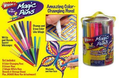 Magic Pens Color Changing Markers Wham o  Washable Stencils 20 Pens Q