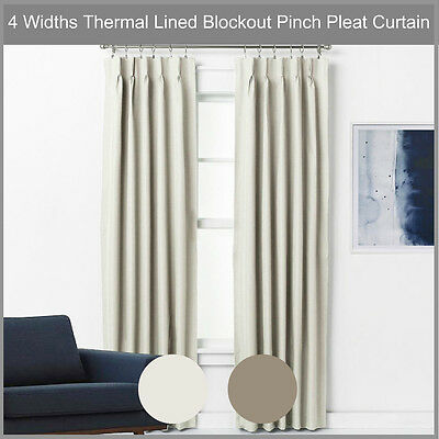 Pinch Pleat Blockout Curtain Pair Thermal Lined Blackout Drape ECRU