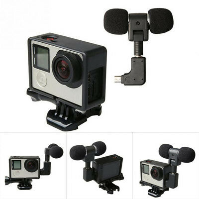 Mini Stereo Microphone For Hero 4 3 Frame Case Mount Action Camera 3.5Mm NoNoise