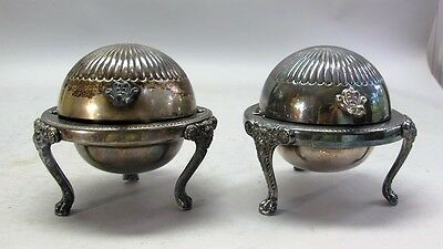 Pair of Victorian Butter or Caviar Silverplate Cooling Trays  c. 1900  antique