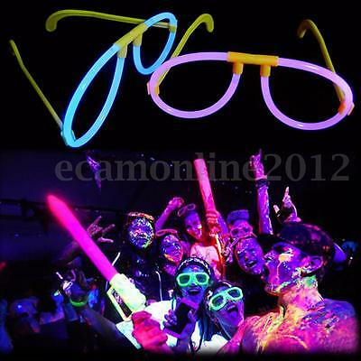 10Pcs Mixed Colors Glow in the Dark Glasses Bright Frame Stick Party Festival