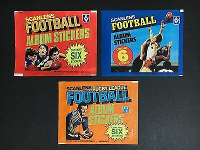 Scanlens Lot Of 3 Empty Sticker Wrappers 2 X Football & 1 X Rugby