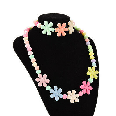 Colorful Beads Necklace&Bracelet Set Baby Girls Flower Jewelry Good gift WB