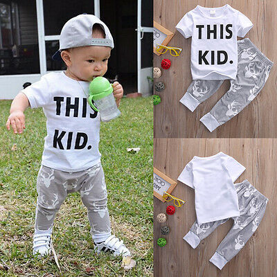 Casual Toddler Baby Kids Boys Clothes Set T-shirt Tops Deer Pants Outfits 0-5Y