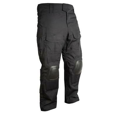 Combat Black Spec Ops Trousers With Knee Pads Ripstop Army Airsoft