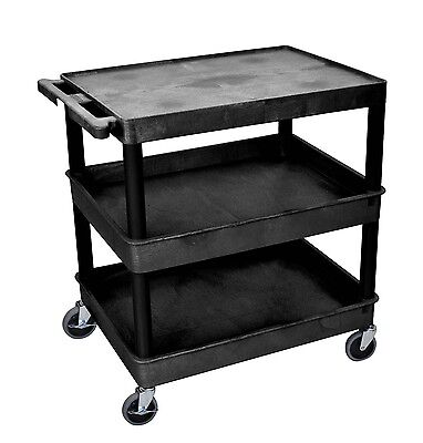 "Luxor 3 Shelf Plastic Tub/Flat Cart with 32""W x 24""D Shelves"