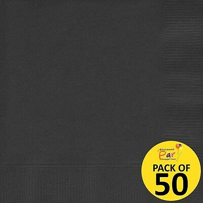 Black (Pack Of 50) Large Luncheon Paper Napkins Serviettes Party Supplies