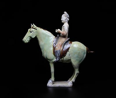 Fine Glazed Horse and Rider with TL Test - China - Tang Dynasty