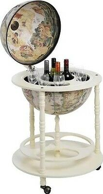 Hill Interiors Globe Map Drinks Holder Cabinet Trolley Stand with Wheels | Cream