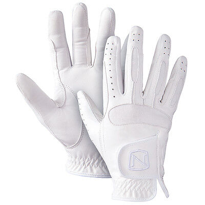 Size 8 Noble Outfitters Show Ready Flexible Leather Horse Riding Glove White