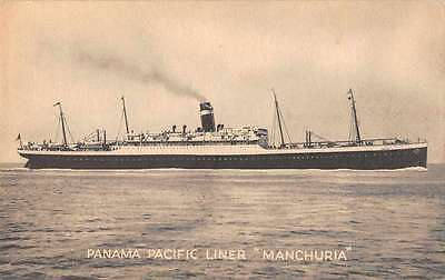 Somewhere In Panama view of Pacific Liner ship Manchuria antique pc Z26948
