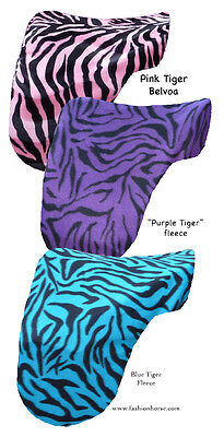 """TURQUOISE BLACK TIGER""  FLEECE DRESSAGE SADDLE COVER PROTECTION animal print"