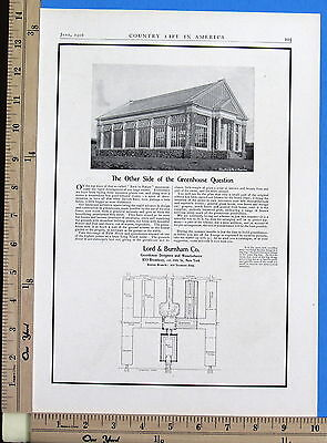 1906 LORD & BURNHAM Greenhouse Designers & Builders full-page Magazine Ad 8126