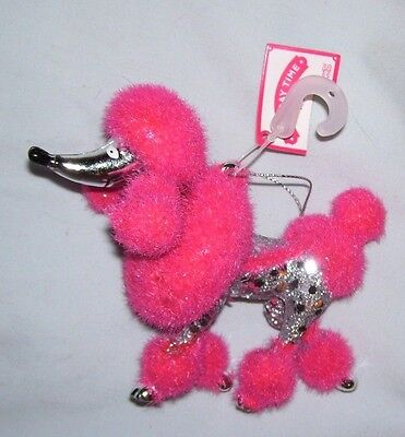 """5"""" pink fuzzy flocked silver plastic standard bred poodle Christmas Ornament"""