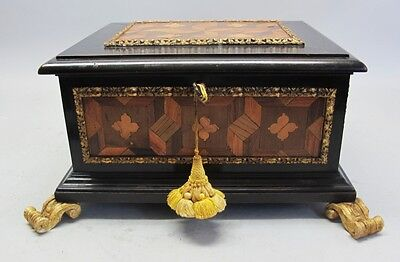 Large Antique French FINE INLAID WOOD BOX with Key  c. 1870s