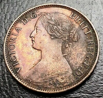 1862 Great Britain Uk Bronze Farthing Coin - Xf+ Condition - Key Date