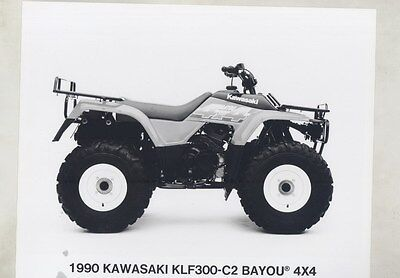 1990 Kawasaki KLF300-C2 Bayou 4x4 ATV ORIGINAL Factory Photo ww3407