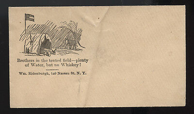 CIVIL WAR cachet ~ NEW YORK * BROTHERS IN THE TENTED FIELD * WHISKEY