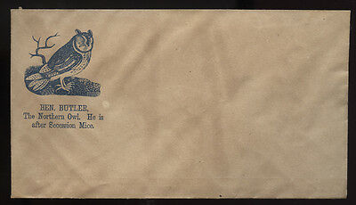 CIVIL WAR cachet ~ BENJAMIN BUTLER * NORTHERN OWL~SECESSION MICE