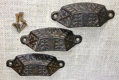 "3 old Bin Drawer Pulls handles rustic Windsor leaves 4"" vintage cast iron"