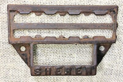 "Sherer Seed Cabinet Bin Pull drawer handle 4 ¾"" vintage old card holder iron"
