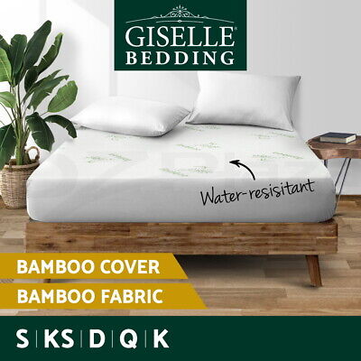 Giselle Waterproof Bamboo Mattress Protector Queen Cotton Fully Fitted All Size