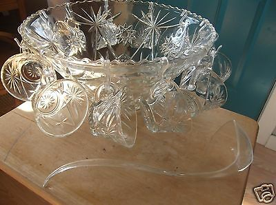 Anchor Hocking Early American Prescut Glass Punch Bowl, 12 Cups, Hooks and Ladle