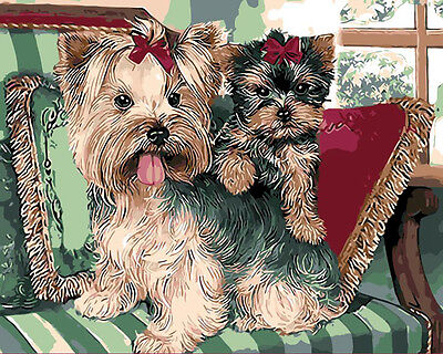 """Wood Framed DIY Paint By Number 16""""*20"""" kit Cute Dogs On Canvas"""