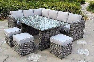 Conservatory Papaver Range Rattan Garden Furniture set 9 seater dining set