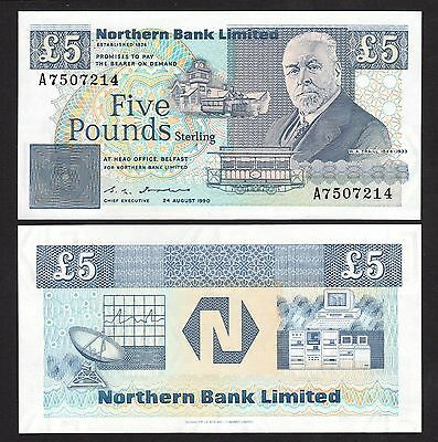 Northern Ireland 5 Pounds (1990) P193b Northern Bank Limited - UNC