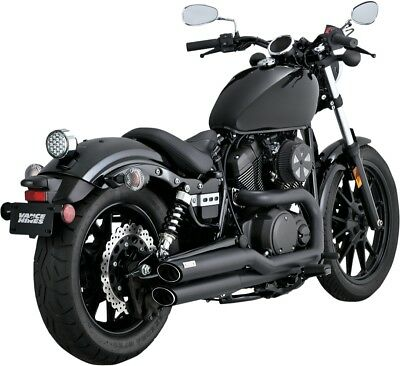 Vance & Hines Twin Slash Staggered Exhaust System Black 48531