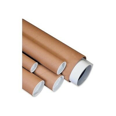 """Mailing Tubes with Caps, 1-1/2""""x18"""", Kraft, 50/Case"""