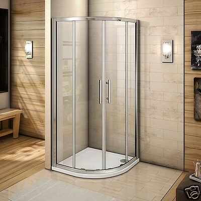Aica 900x900mm Quadrant Shower Enclosure and Tray Walk in Corner Cubicle Door