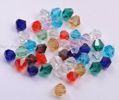 Wholesale Bicone Faceted Rondelle Glass Crystal Charms Loose Spacer Jewelry 4MM