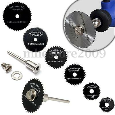 7pc HSS Circular Wood Cutting Saw Blade Discs Mandrel Kit for Dremel Rotary Tool