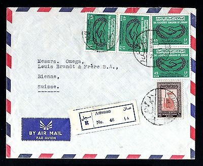 13638-JORDAN-AIRMAIL REGIST.COVER AMMAN to BIENNE (switzerland).1966.JORDANIA.