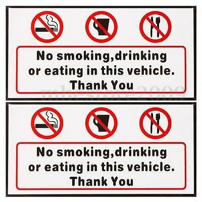 2Pcs No Smoking Eating Drinking in This Vehicle Signs Stickers Taxi Bus Decal