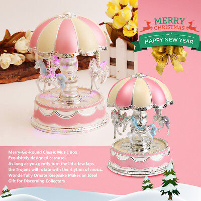 Plastic Merry-Go-Round Classic Music Box Christmas Birthday Gift Toys Carousel