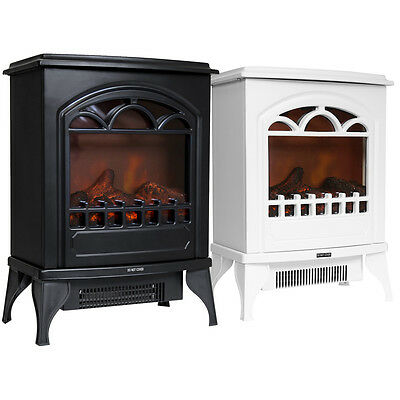 Charles Bentley Freestanding Electric Fire Stove Log Flame Effect - Black /White