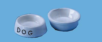 DOLLS HOUSE 1/12th  SCALE  DOG FOOD AND WATER BOWLS